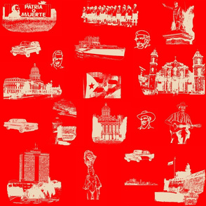 Cuban Landmark Toile Buff on Red