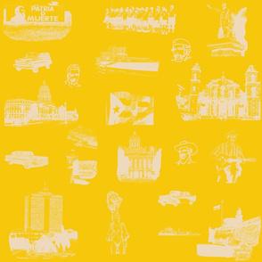 Cuban Landmark Toile Buff on Yellow