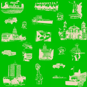 Cuban Landmark Toile Buff on Green