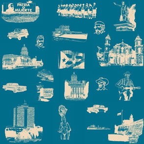 Cuban Landmark Toile Buff on French Blue