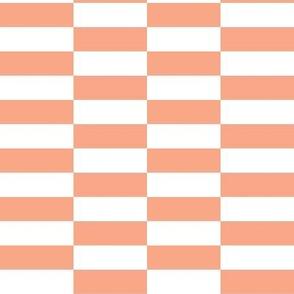 white peach checkerboard stripes