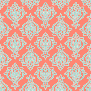 Indian Damask in Mint on Coral