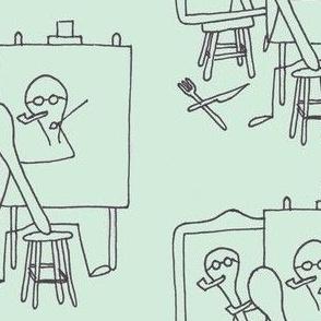Norman Spoonwell, self-portrait, green