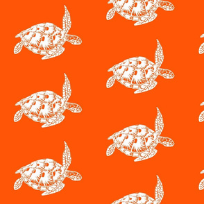 sea turtle, white on orange