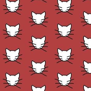 White cat on dark soft red