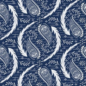 Watercolor Paisley - Indigo