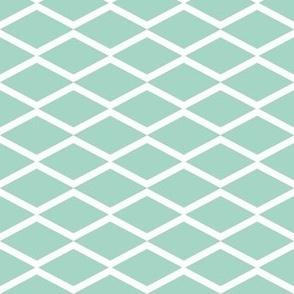 white fishnet on mint