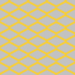 yellow fishnet on grey