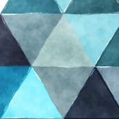 indigo watercolor triangles // oversized
