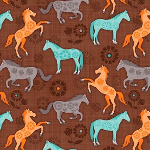 Floral Fillies - Brown - Small Scale