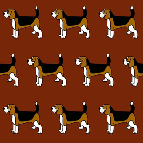 Basic Beagles on Burgundy