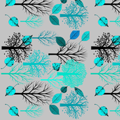 Grey Trees with aqua leaves