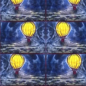 hot air balloon encaustic wax painting