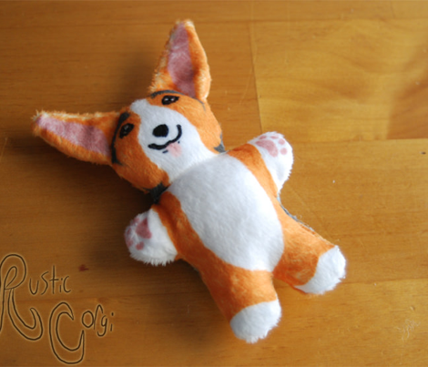 Kawaii Corgi mini plushie - red head tri