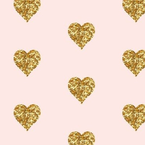 Whisper Pink Small Gold Hearts