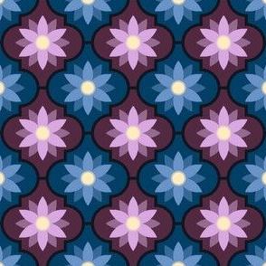 dark twilight flower tiles