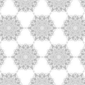 Lace Doily Mandala Lattice Grey on White