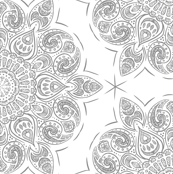 Lace Doily Mandala Honeycomb Grey on White