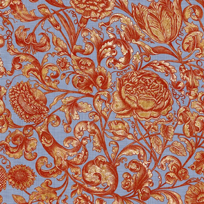 Ophelia's Posy ~ Provence ~ Turkey Red Gilt on Henriette Linen Luxe