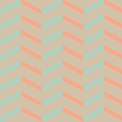 mint peach chevron on tan