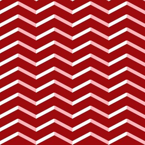 white pink chevron on red