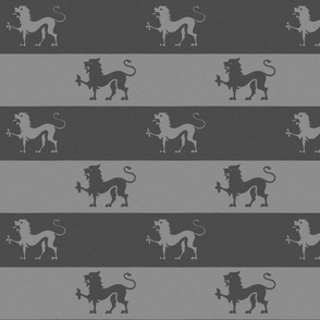 Lion Passant Stripes ~ Grey