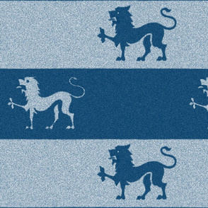 Lion Passant Stripes ~ Lonely Angel Blue and White