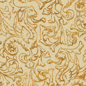 Here There Be Dragons ~ Gilt Gold on Bleached Cream Linen