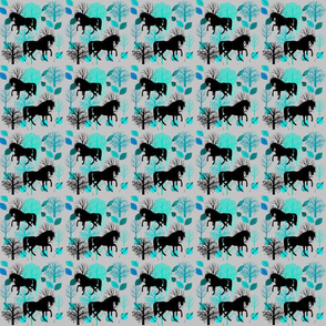 Black Horses in Aqua Forest
