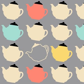 teapots on grey