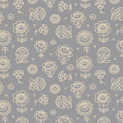 lacy flowers on grey