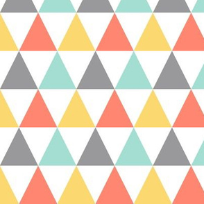 Coral mint yellow triangles