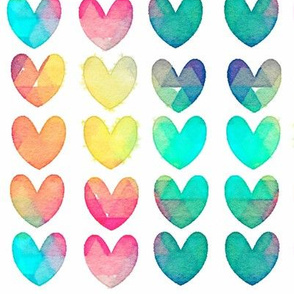 Bright Watercolor Hearts