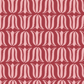 Block Print Blossoms Tulips in Rose