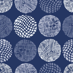 Circle Block Print in Navy
