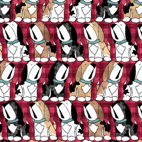 Beagles Red Plaid