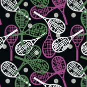 Tennis Racquets Pink, Green & White on Black