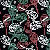 Green, Maroon & White Tennis on Black