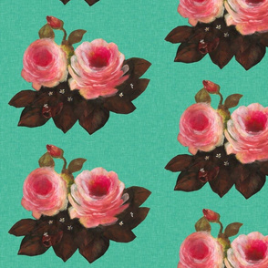 Royal Roses on Teal