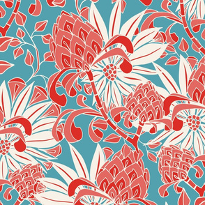 red asian floral