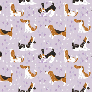 Busy Beagles on Mauve