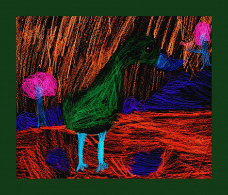 Green Flamingo by Laci