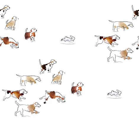 Beagles Winter Rabbit Hunt