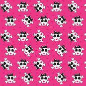 Zombie Skull N Crossbones Pink