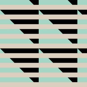 tan black mint stripes triangle
