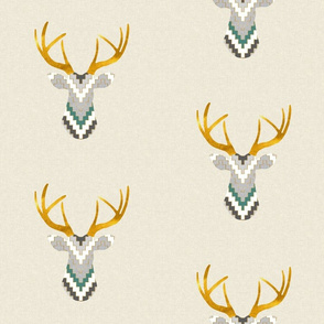 Telluride Deer in Teal and Charcoal