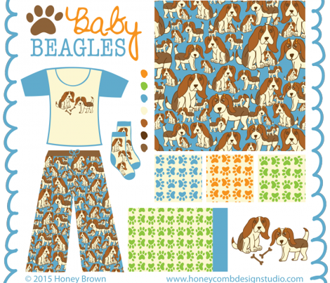 Baby Beagles in Blue