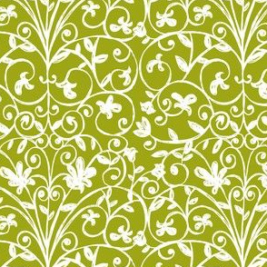Carriage House Floral Damask Moss Green