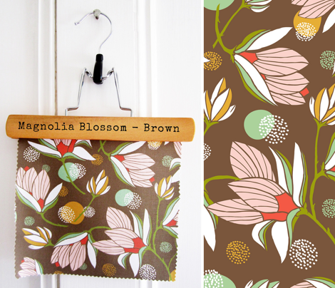 Magnolia Blossom Floral Brown