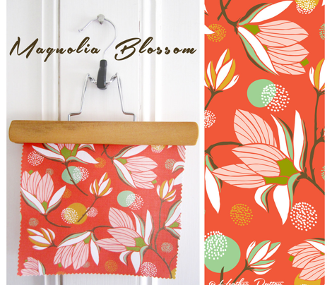 Magnolia Blossom Floral Red